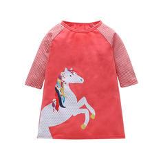 Chicas Cuello redondo raya Animal Casual Vestido