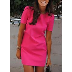 固体 半袖 シースドレス 膝上 リトルブラックドレス/カジュアル ドレス