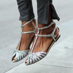 De mujer PU Tacón plano Sandalias Encaje con Hebilla Agujereado zapatos