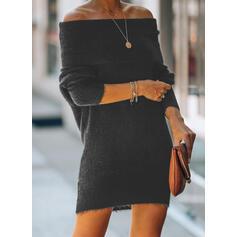 Düz / Tek (Renk) Mimo rameno Neformální Dlouhé Svetrové šaty