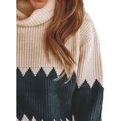 Színblokk Kámzsa nyak Hétköznapokra πουλόβερ