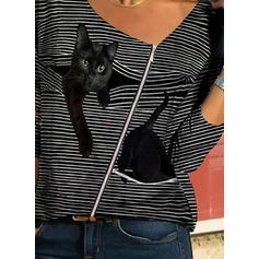 Stampato Animale A righe Scollatura a V Maniche lunghe Casuale Camicie