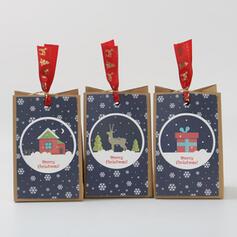 Polpa de madeira natural Ornamentos de Natal Sacos de Doces (Conjunto de 12)