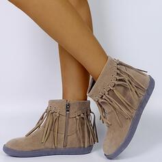 De mujer Cuero Tacón plano Botas al tobillo Encaje con Borla zapatos