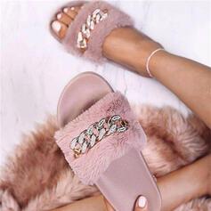 De mujer Terciopelo Tacón plano Sandalias con Rhinestone zapatos