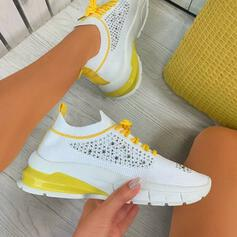 Women's Flying Weave Flat Heel Flats Sneakers With Rhinestone Hollow-out shoes
