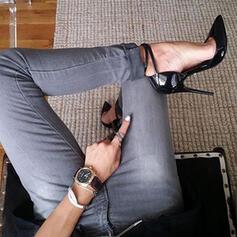 Femmes Cuir verni Talon stiletto Sandales Escarpins Bout fermé Bout pointu avec Couleur unie chaussures