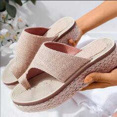 De mujer PU Tacón plano Encaje Pantuflas Anillo del dedo del pie con Agujereado zapatos