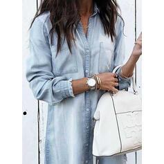 Jednolita Długie rękawy Koktajlowa Nad kolana Casual Koszula Sukienki
