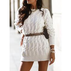 Solido Cavo Knit Girocollo Casual Lungo Abito maglione