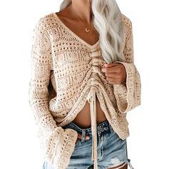Egyszínű V-nyak Hétköznapokra πουλόβερ