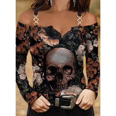 Floral Print Skull head Lace Cold Shoulder Long Sleeves T-shirts
