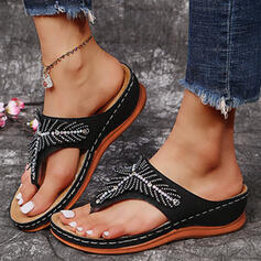 Kvinder PU Kile Hæl sandaler Kiler Flip Floppere Tøfler med Rhinsten Solid Color sko