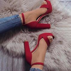 Dámské Semiš Široký podpatek Sandály Lodičky S otevřenou špičkou S Vydlabaný Solid Color obuv