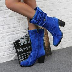 De mujer PU Tacón ancho Salón Botas Botas longitud media con Cremallera zapatos