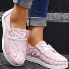 Dámské Plátno Placatý podpatek Boty Bez Podpatku Kolem špičky Espadrille S Šněrovací Solid Color obuv