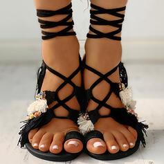 De mujer Ante Tacón plano Sandalias Encaje con Perlas de imitación Cordones zapatos