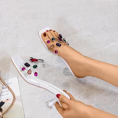 De mujer plástica Tacón stilettos Sandalias Salón con Rhinestone zapatos