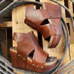 De mujer Piel brillante Tipo de tacón Sandalias Cuñas Encaje Tacones Encaje con Agujereado Color sólido zapatos