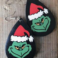 Forma di goccia Natale Grinch PU Donna Orecchini 2 pezzi