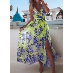 Print/Floral Sleeveless A-line Casual Midi Dresses