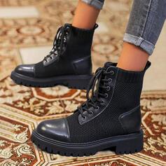 De mujer Cuero Tela PU Tacón ancho Martin botas con Cordones Color sólido zapatos