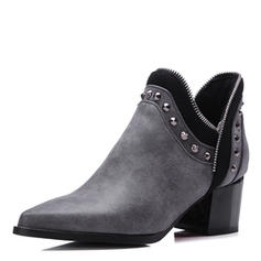 Mulheres Couro Salto robusto Fechados Botas Bota no tornozelo com Rivet sapatos