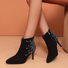 De mujer Ante Tacón stilettos Botas Botas al tobillo con Rhinestone zapatos