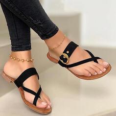 Kvinnor PU Flat Heel Sandaler Platta Skor / Fritidsskor Flip Flops Tofflor med Ihåliga ut Kors och tvärs skor