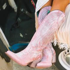 Vrouwen PU Chunky Heel Knie Lengte Laarzen Puntige teen met Rits schoenen