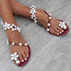 De mujer PU Tacón plano Sandalias Encaje con Perlas de imitación Flor zapatos