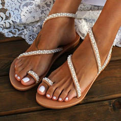 Women's PU Flat Heel Sandals Flats Peep Toe With Imitation Pearl shoes