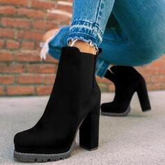 Donna Camoscio Tacco spesso Stivali alla caviglia Punta rotonda Scivolare su con Animale Stampa Fascia di gomma scarpe