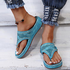 De mujer Cuero Tacón plano Sandalias Chancletas Pantuflas con Hebilla Agujereado zapatos