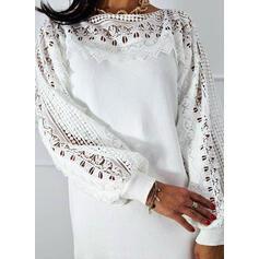 Düz / Tek (Renk) Csipke Kulatý krk Neformální Dlouhé Svetrové šaty
