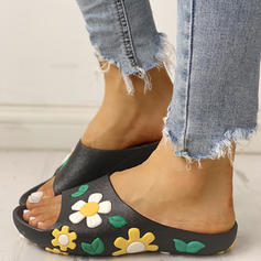 De mujer PU Tacón plano Sandalias Encaje Pantuflas con Flor zapatos