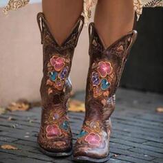 Vrouwen PU Chunky Heel Half-Kuit Laarzen Rijlaarzen met Geborduurd schoenen
