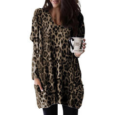 Leopard Round Neck Long Sleeves Casual Knit Blouses