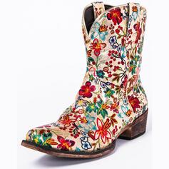 Vrouwen PU Chunky Heel Ronde neus Rijlaarzen met Bloem schoenen