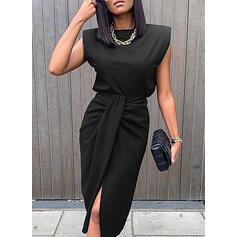 固体 ノースリーブ シースドレス 膝丈 リトルブラックドレス/エレガント ドレス