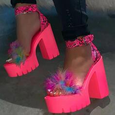 De mujer Cuero Tacón ancho Salón Encaje con Pluma zapatos