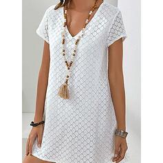 固体 半袖 シフトドレス 膝上 カジュアル チュニック ドレス