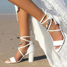 Mulheres PU Salto robusto Sandálias Bombas Peep toe com Aplicação de renda sapatos