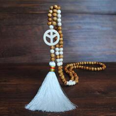 Vackra Och Modern Exotisk Kristall Trä Pärlor med Tofsar Halsband
