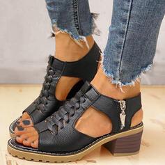 Kvinder PU Stor Hæl sandaler Pumps Kigge Tå Hæle med Lynlås sko