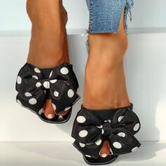 PVC Χαμηλή τακούνια Σανδάλια Ανοιχτά σανδάλια toe Παντούφλες Με Bowknot παπούτσια