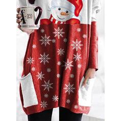 クリスマス 印刷 カラーブロック ラウンドネック 長袖 クリスマス・スウェットシャツ