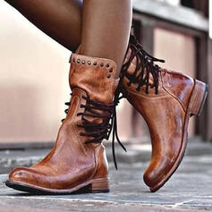 Mulheres Couro Salto baixo Botas com Rivet Aplicação de renda sapatos