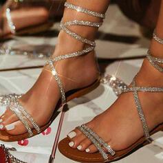 Kvinnor PU Flat Heel Sandaler Peep Toe med Strass Ihåliga ut skor