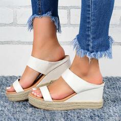 De mujer PU Tipo de tacón Sandalias Cuñas con Color sólido zapatos